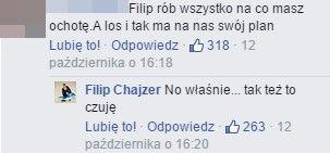 Zdjęcie Filipa Chajzera wywołało dyskusję na FB