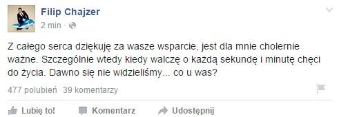 Filip Chajzer przemówił na FB!