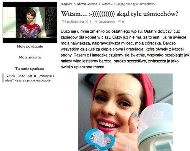 Dorota Gardias chwali si� zdj�ciami z c�reczk� (FOTO)