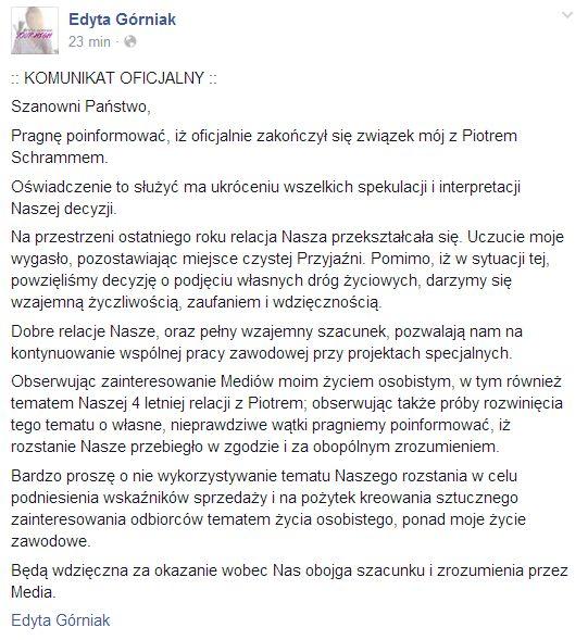 G�rniak: Oficjlanie zako�czy�am zwi�zek z Piotrem Schrammem