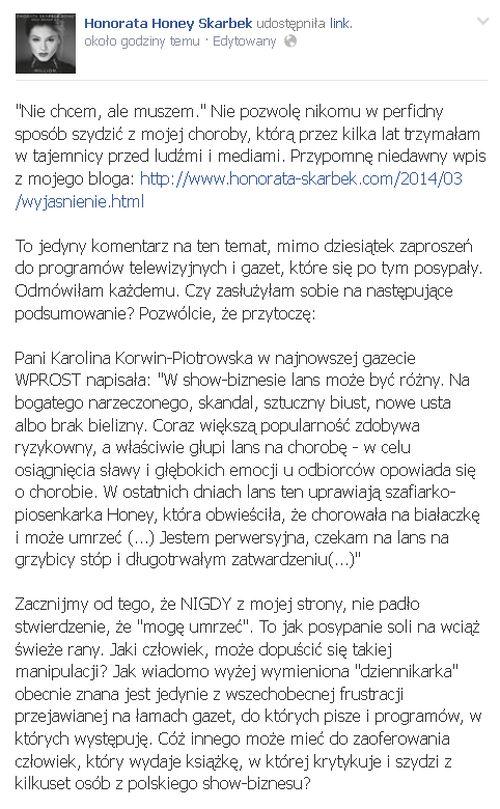 Honey oburzona artykułem Korwin-Piotrowskiej o lansie na cho