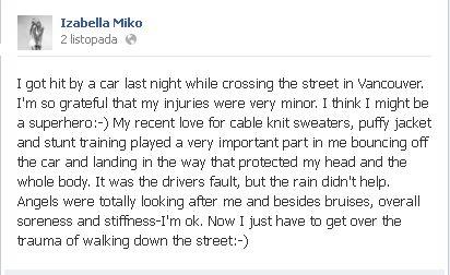 Iza Miko została potrącona przez samochód!