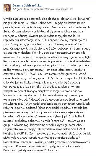 Joanna Jabłczyńska wyszła obrażona z pokazu BOHOBOCO