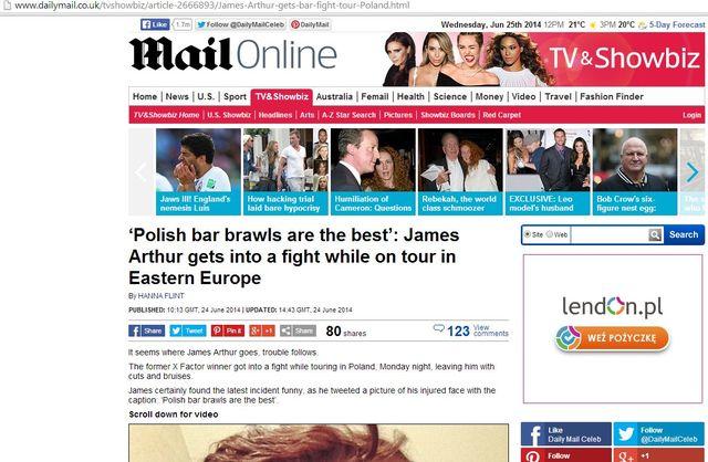 Zagraniczne media piszą o pobiciu Jamesa Arthura w Polsce