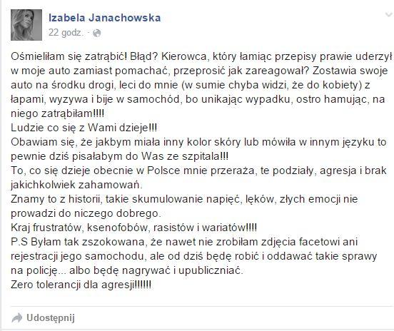 Izabela Janachowska: Leci do mnie z łapami, wyzywa
