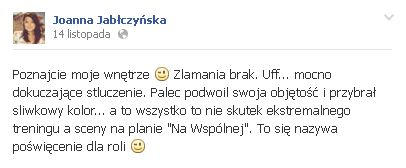Joanna Jabłczyńska miała wypadek na planie serialu!