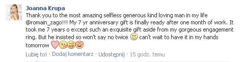 Co Romain Zago kupił Krupie na 7 rocznicę związku? (FOTO)