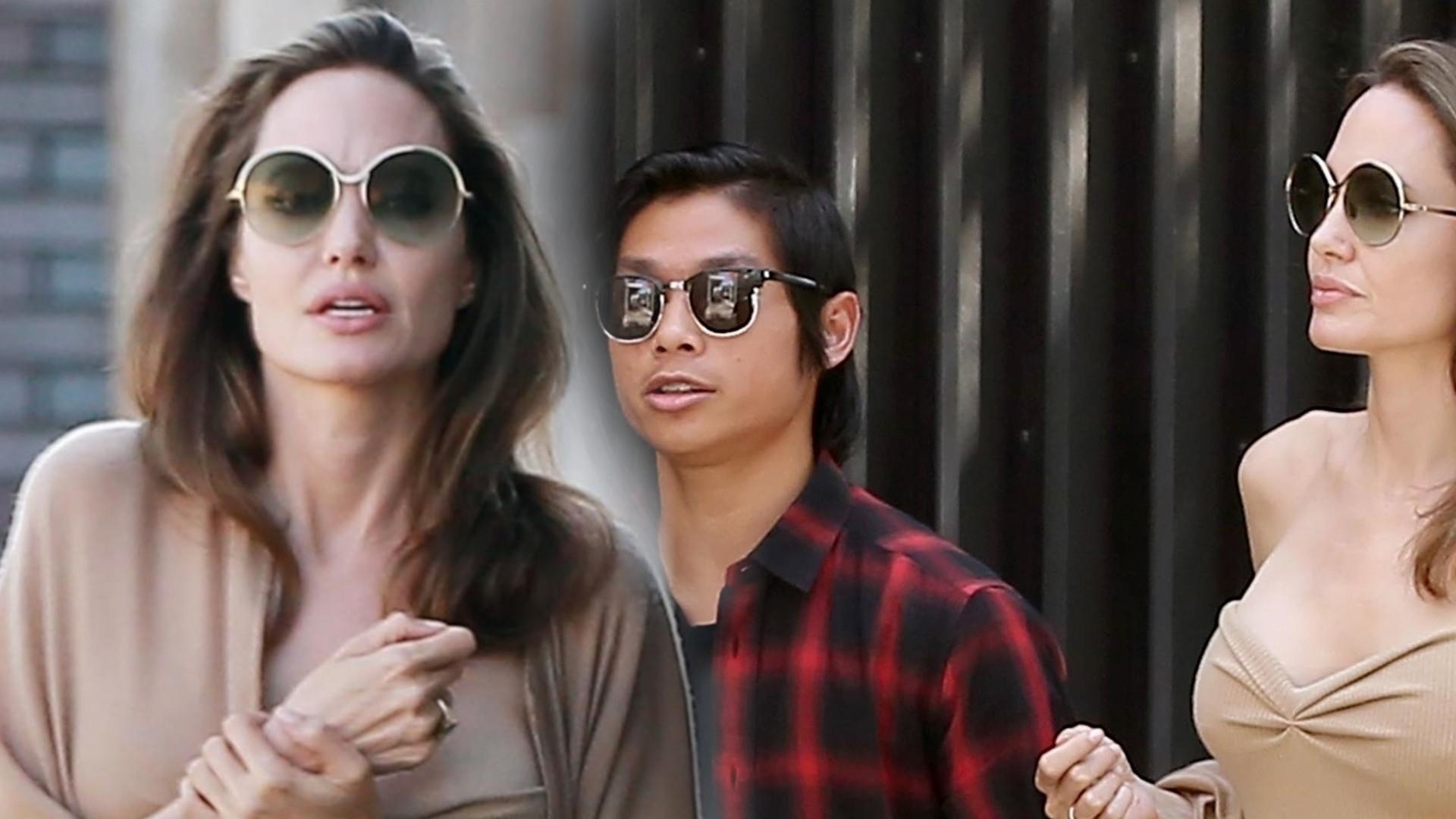 Angelina Jolie w NIETYPOWEJ stylizacji na lunchu z synem (ZDJĘCIA)