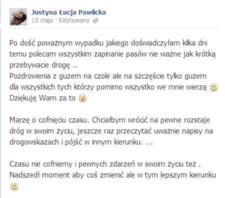 Justyna Pawlicka miała wypadek (FOTO)