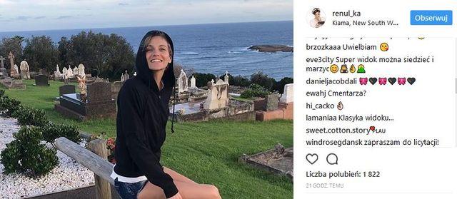 Renata Kaczoruk pozuje przy cmentarzu. Fani: Żenada (Instagram)