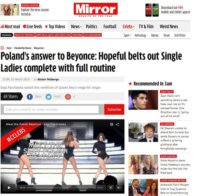 Kaja Paschalska jako Beyonce zauważona w zachodnich mediach