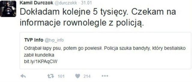 Durczok płaci za znalezienie sadysty, który zabił psa Twitt