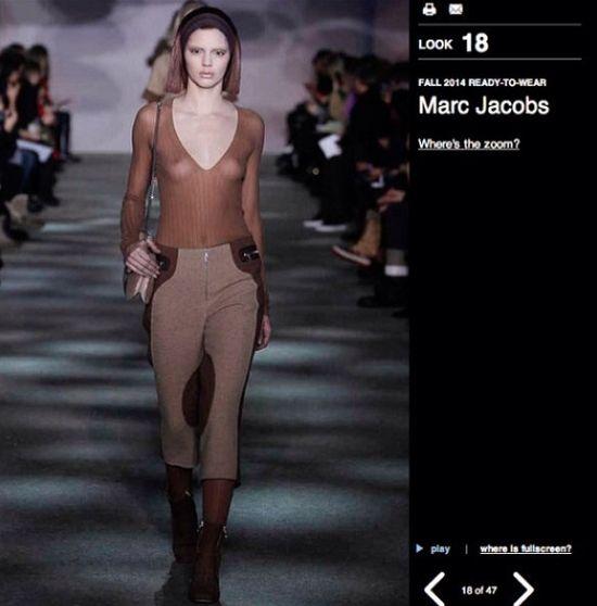 Kendall Jenner pokazała sutki na wybiegu u Marca Jacobsa