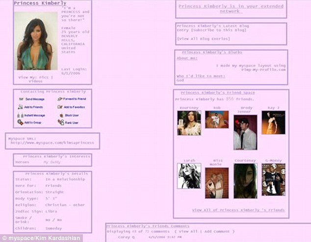 Co się działo na profilu na MySpace Kim w 2006 roku?