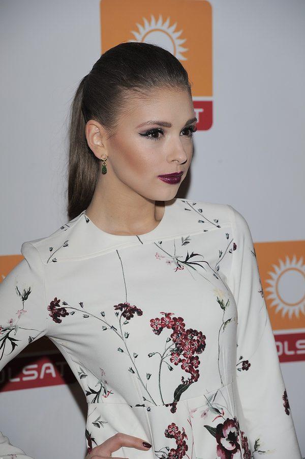 Klaudia Halejcio jak modelka na konferencji Polsatu (FOTO)