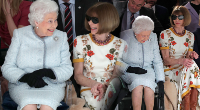 Królowa Elżbieta na ploteczkach z Anną Wintour – London Fashion Week