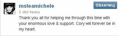 Lea Michele dodała pierwszy wpis po śmierci Cory'ego (VIDEO)