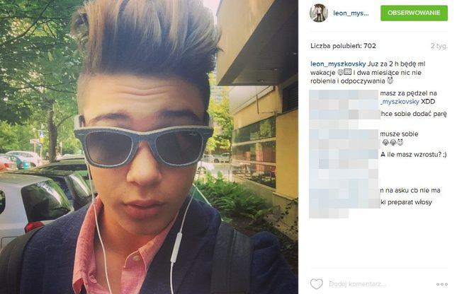Syn Steczkowskiej przeprasza za głupiego mema (Instagram)