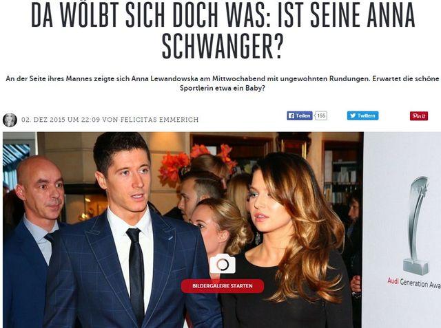 Niemieckie media piszą o ciąży Anny Lewandowskiej!