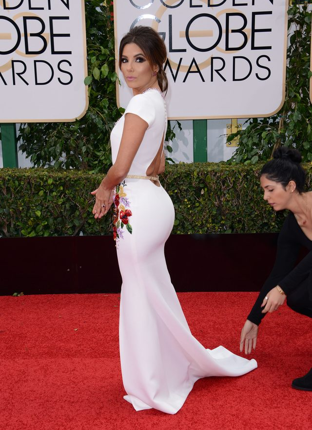 Złote Globy 2016. Eva Longoria w sukni z kwiatowymi motywami