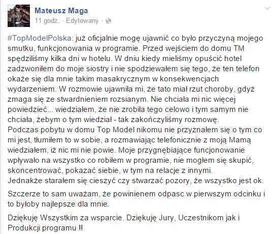 Mateusz Maga na FB przerywa milczenie!