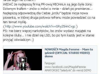 Magda Femme o Michale Wiśniewskim: Lubi babrać się w g*wnie