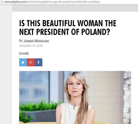 Amerykański Playboy pisze o Magdalenie Ogórek!