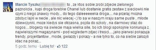 Marcin Tyszka o blogerkach: Zginą jak gwiazdki Big Brothera