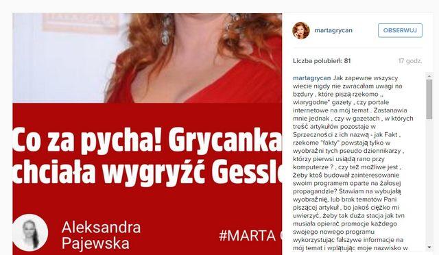 Marta Grycan wybuchła na Instagramie (FOTO)