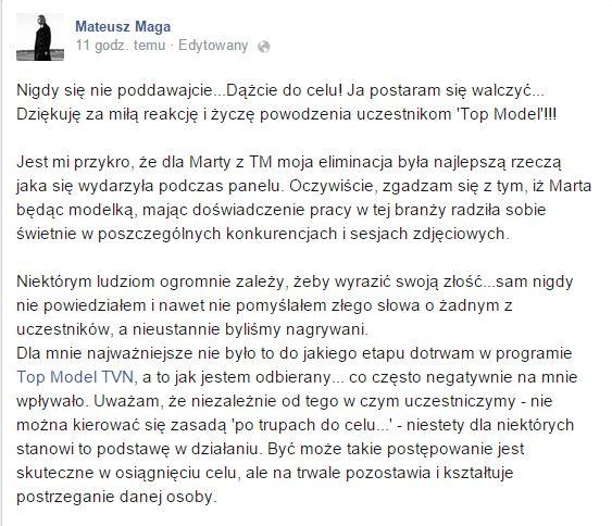 Mateusz Maga bardzo ostro o Marcie Sędzickiej z Top Model