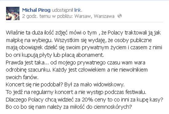 Michał Piróg o Rihannie: Polacy traktowali ją jak małpkę