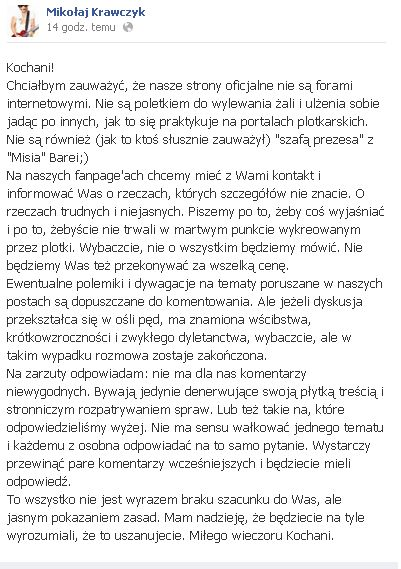 Mikołaj Krawczyk: Nie trwacje w plotkach!