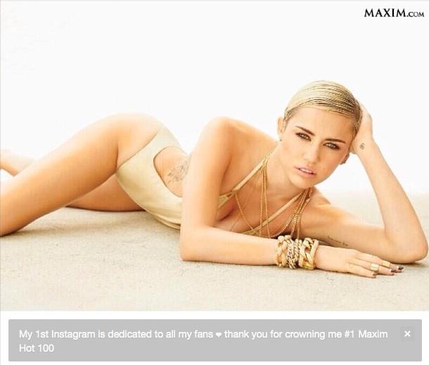 Miley Cyrus jest na szczycie najgorętszych kobiet wg Maxima