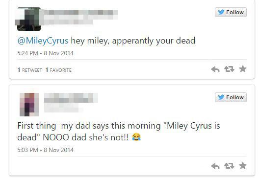 Szkoująca wiadomość na FB: Miley Cyrus nie żyje!