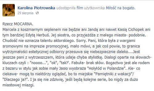 Karolina Korwin-Piotrowska krytykuje Miłość na bogato