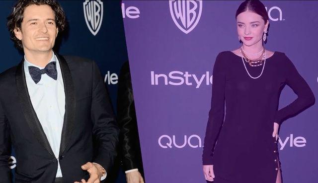 Miranda Kerr (bez majtek) i Orlando Bloom razem na imprezie