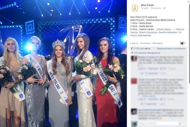 Miss Polski 2015 została Magdalena Bieńkowska