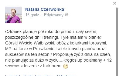 Natalia Czerwonka,wicemistrzyni olimpijska,złamała kręgosłup