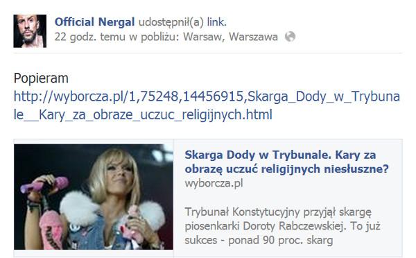 Nergal popiera Dodę