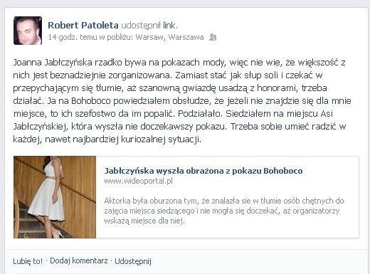 Robert Patoleta poucza Jabłczyńską: Trzeba sobie radzić!