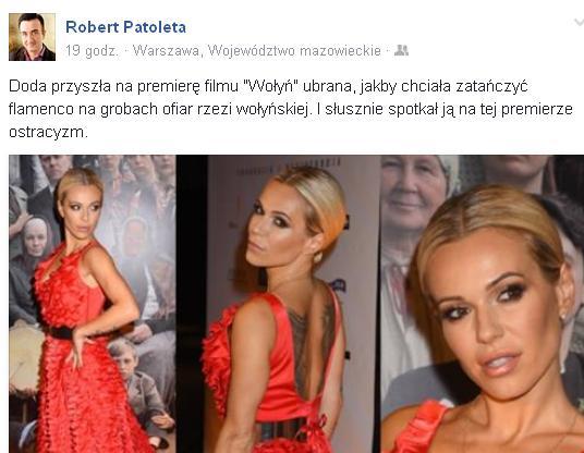 Ksiądz pod zdjęcie Dody na premierze Wołynia: Trzeba mieć kuku-ma niuniu