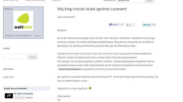Kasia Tusk czyta bloga Pikeja?