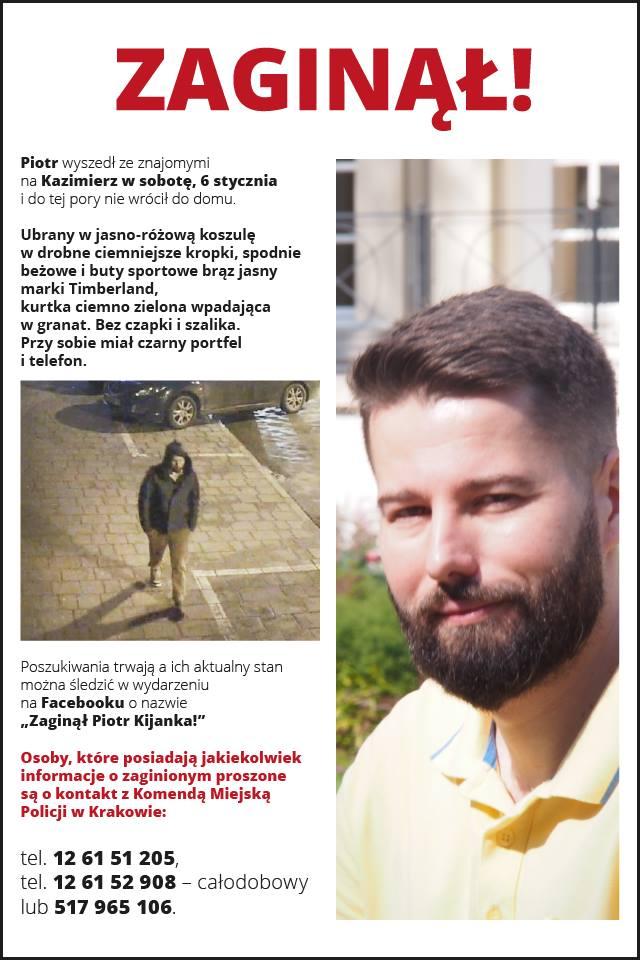 Zaginął Piotr Kijanka z Krakowa - policja prosi o pomoc