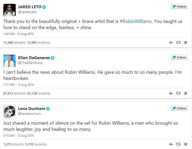 Jak gwiazdy zareagowały na śmierć Robina Williamsa? (FOTO)