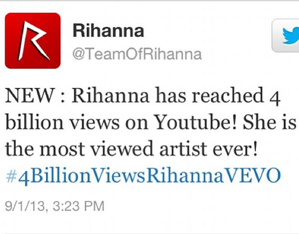 Rihanna osiągnęła 4 miliardy odtworzeń na YouTube (VIDEO)