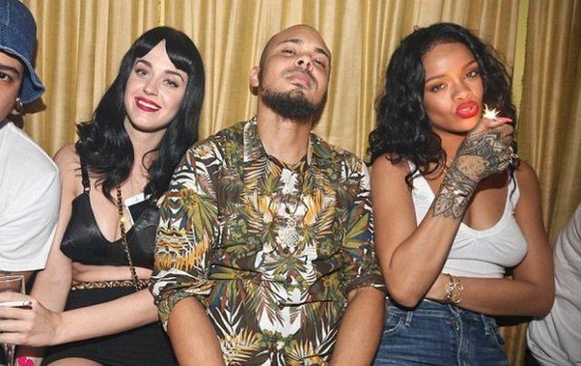 Fałdki Katy Perry i Rihanna bez stanika na ostrej popijawie