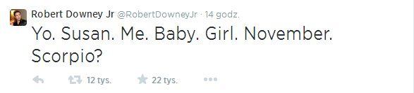 Robert Downey Jr. ponownie zostanie ojcem