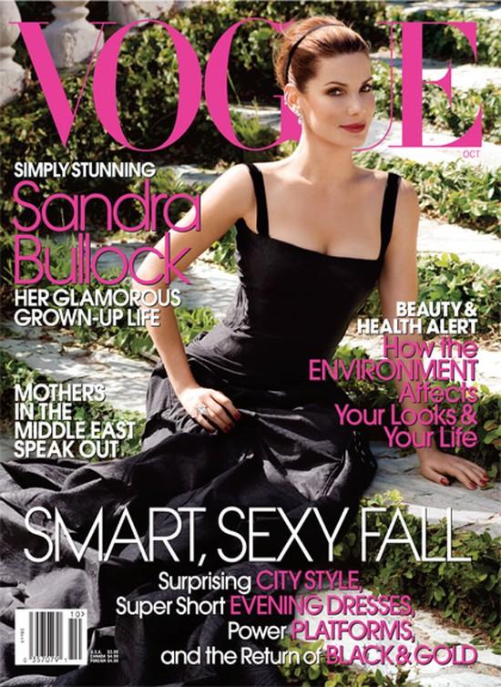 Sandra Bullock na okładce Vogue - nuda? (FOTO)