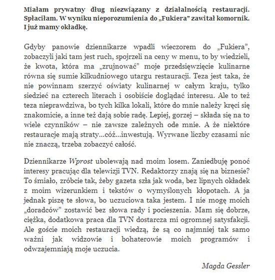 Magda Gessler o problemach z komornikiem.