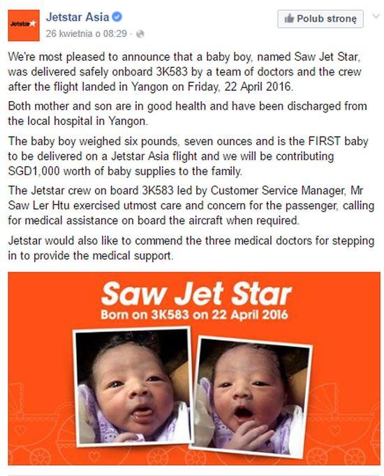 Kobieta urodziła w samolocie i... nazwała dziecko na cześć linii lotniczych